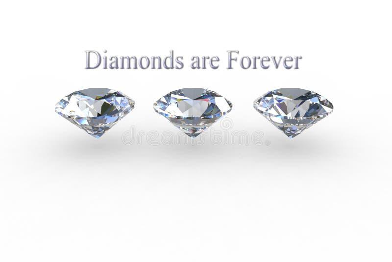 De diamanten zijn voor altijd - Reeks van drie diamantgemmen royalty-vrije illustratie