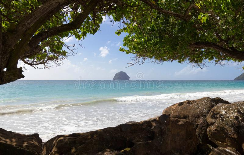 De Diamantrots en het Caraïbische strand, het eiland van Martinique royalty-vrije stock afbeelding