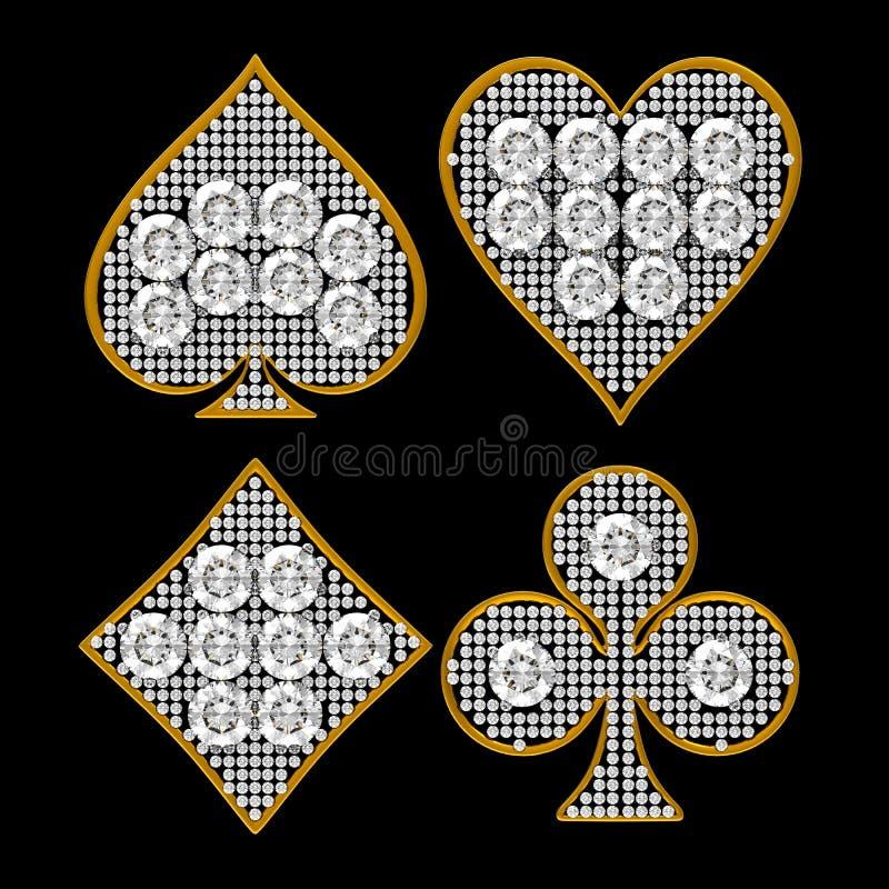 De diamantvormige Kostuums van de Kaart met gouden frame royalty-vrije illustratie