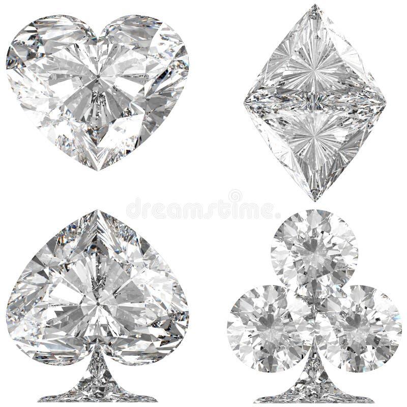 De diamantvormige Kostuums van de Kaart op wit stock illustratie