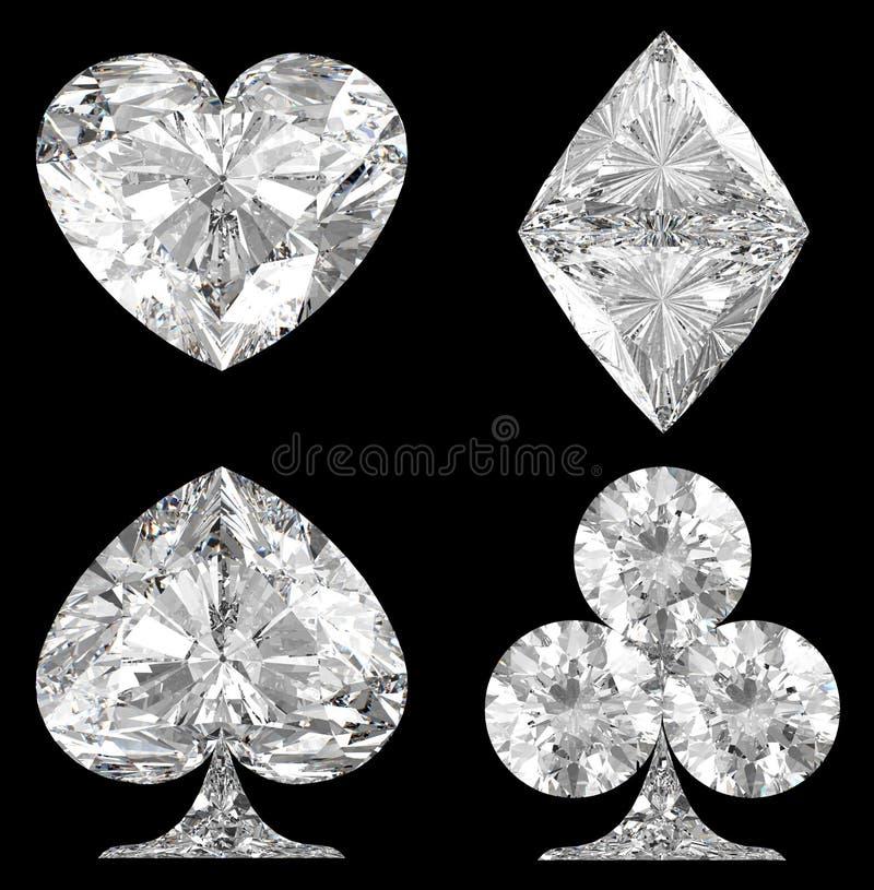 De diamantvormige Kostuums van de Kaart over zwarte vector illustratie