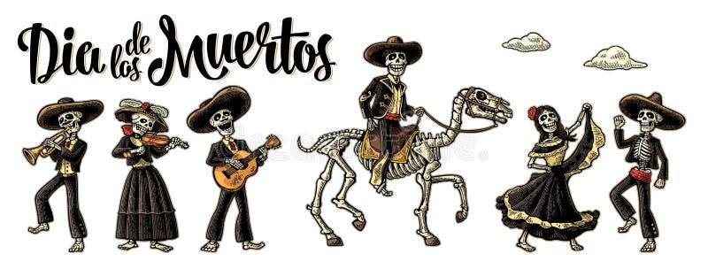 de diameter los muertos Skelettet i mexicanska nationella dräkter royaltyfri illustrationer