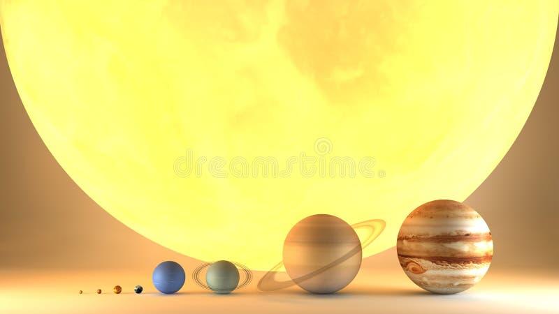 De diametergrootte van zonnestelselplaneten Verhouding van omvang royalty-vrije illustratie