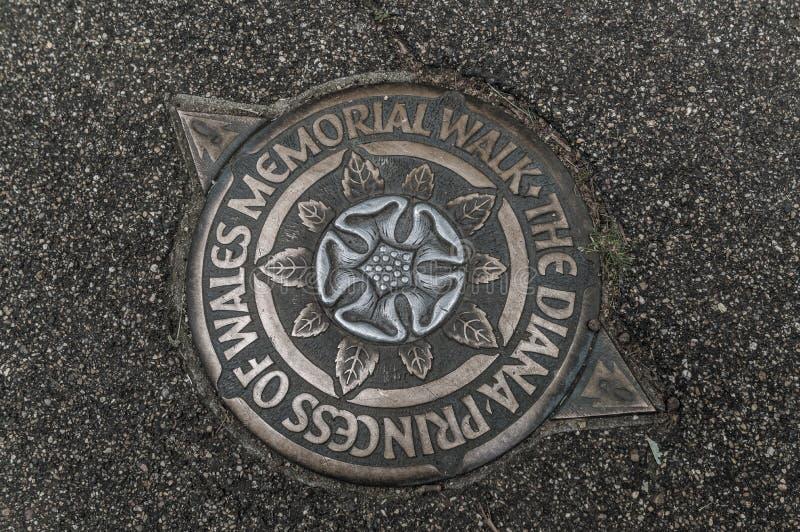 De Diana Princess Of Wales Memorial-Gang stock afbeeldingen