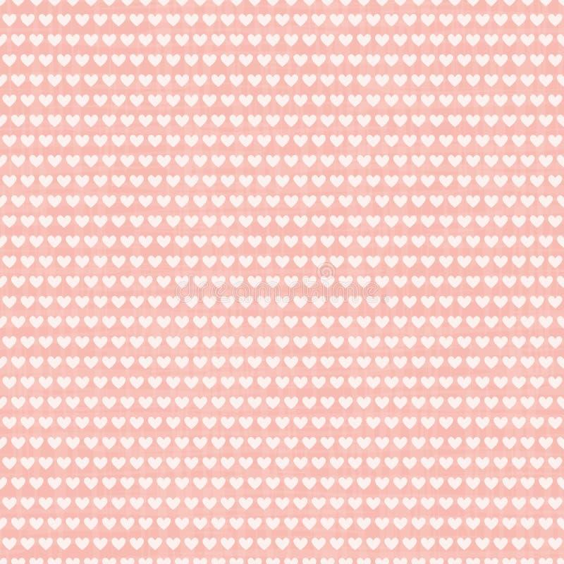 De dichte room witte rijen van harten in horizontale baksteen herhalen ontwerp Naadloos geometrisch vectorpatroon op geweven roze stock illustratie