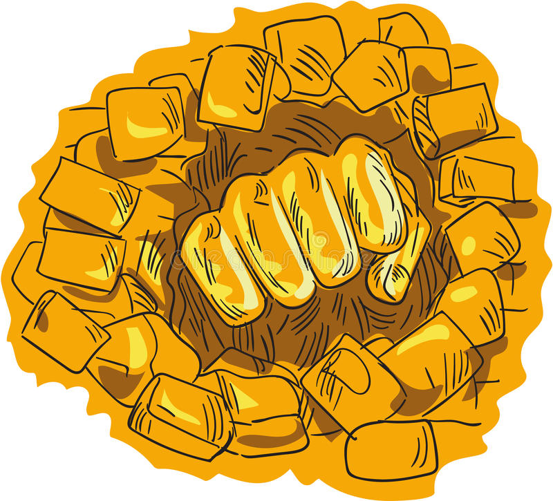 De dichtgeklemde Tekening van de de Steenmuur van de Vuist Brekende Baksteen royalty-vrije illustratie
