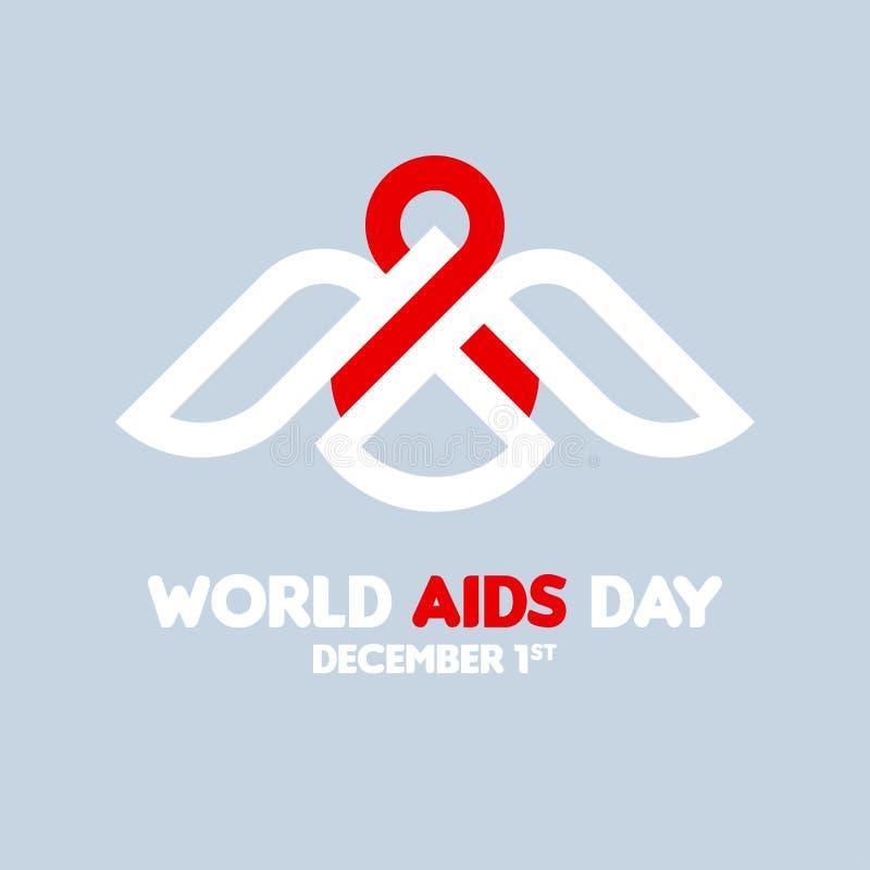1 de diciembre concepto del Día Mundial del Sida con el pájaro que sostiene la cinta roja stock de ilustración