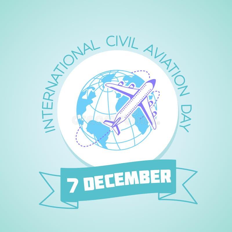 7 de diciembre día internacional de la aviación civil ilustración del vector