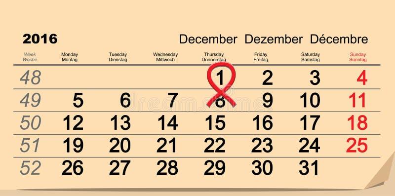 1 de diciembre de 2016 Día Mundial del Sida Símbolo rojo de la cinta Recordatorio de la fecha civil stock de ilustración