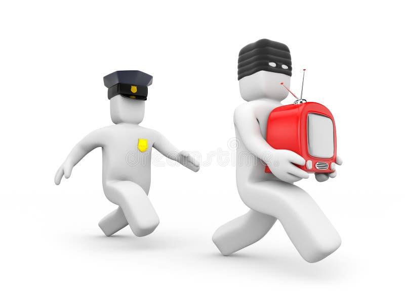 De dief van politieagentvangsten vector illustratie