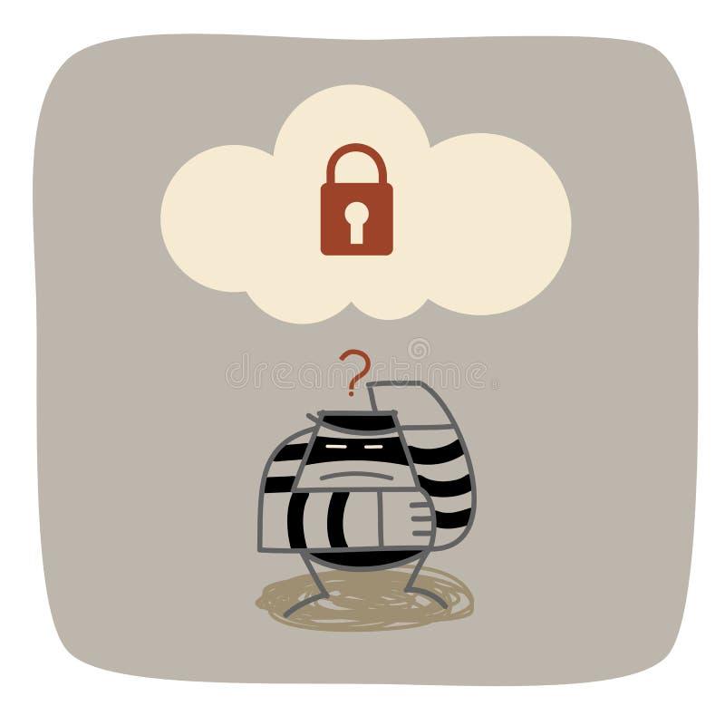 De dief verwart wolk gegevensverwerkingsveiligheid royalty-vrije illustratie