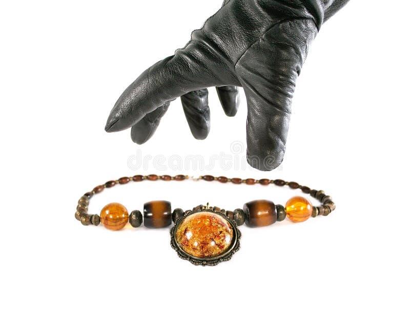 De diefstal van de halsband. Geïsoleerde royalty-vrije stock foto's
