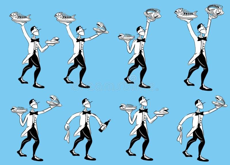 De dienende illustraties van de restaurantkelner vector illustratie