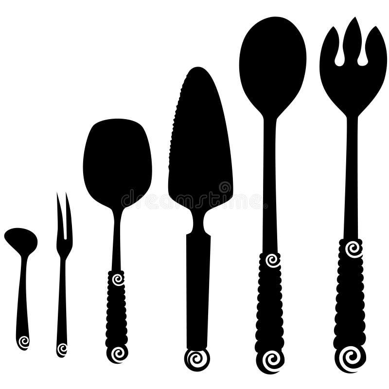 De Dienende Werktuigen van het vaatwerk stock illustratie