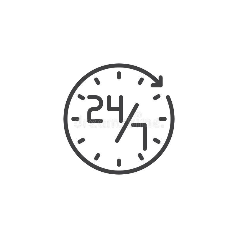 De dienst 24 7 overzichtspictogram stock illustratie
