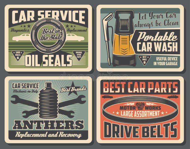 De dienst van de autoreparatie, autodelenwinkel stock illustratie