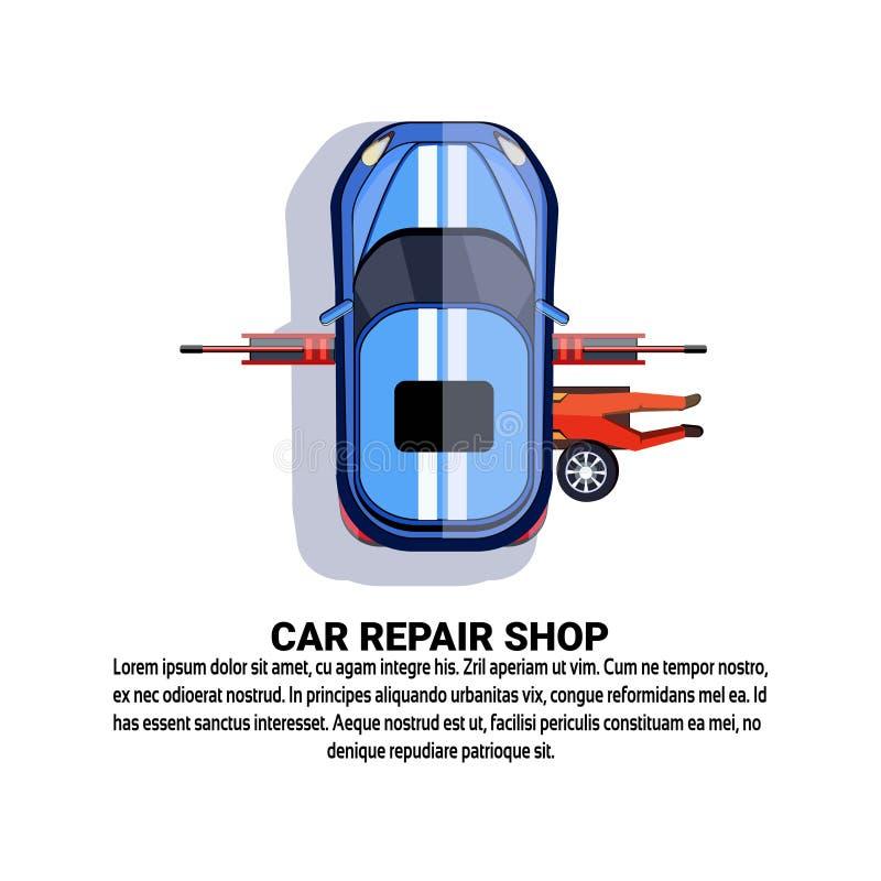 De Dienst van de autoReparatiewerkplaats met Onderhoudsarbeider het Bevestigen Auto over Exemplaarruimte het Achtergrond van Witn vector illustratie