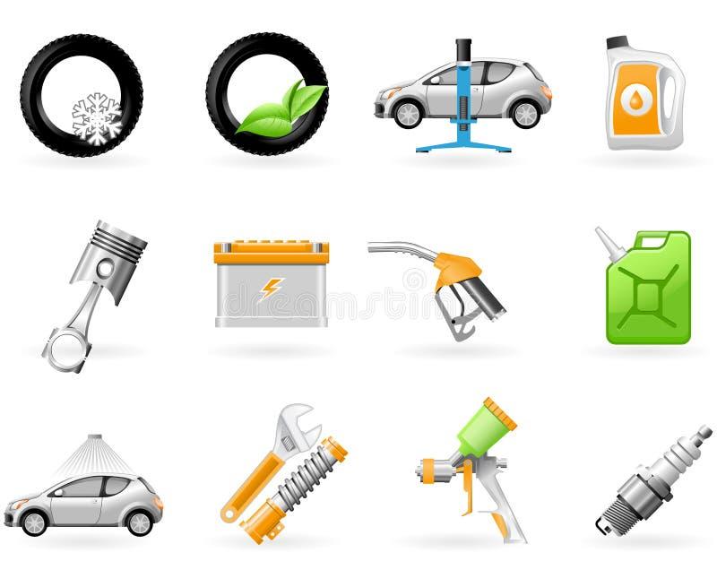 De dienst van de auto en het Herstellen van pictogramreeks vector illustratie