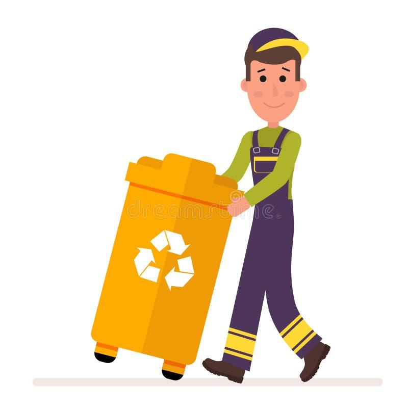 De dienst van de huisvuilinzameling De mens in eenvormig neemt een container met huisvuil Vlak die karakter op wit wordt geïsolee royalty-vrije illustratie