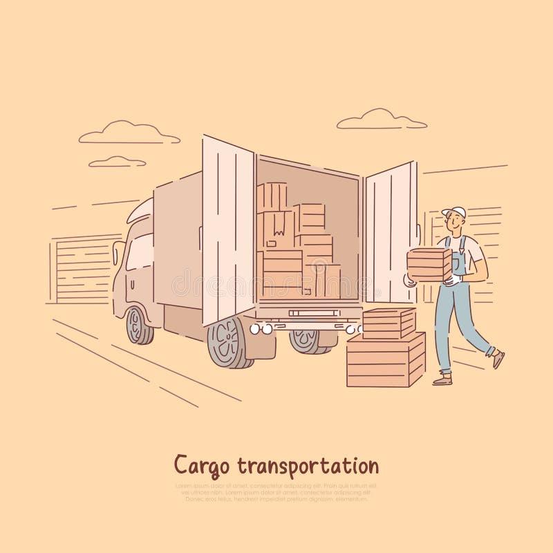 De dienst van het ladingsvervoer, de dragende doos van de leveringsjongen aan vrachtwagen, pakhuisarbeider, de containersbanner v vector illustratie