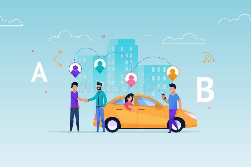 De Dienst van het taxicarsharing De Toewijzing van de vervoerhuur stock illustratie