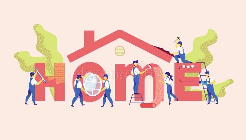 De dienst van de huisreparatie Hoofdvernieuwingsflat royalty-vrije illustratie