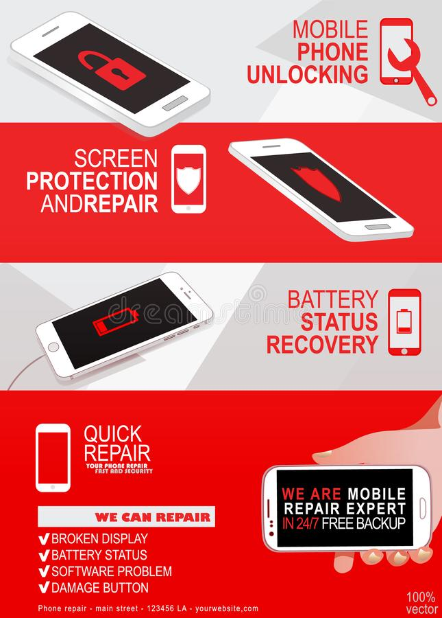 De dienst van de reparatietelefoon infographic bannerconcept royalty-vrije illustratie