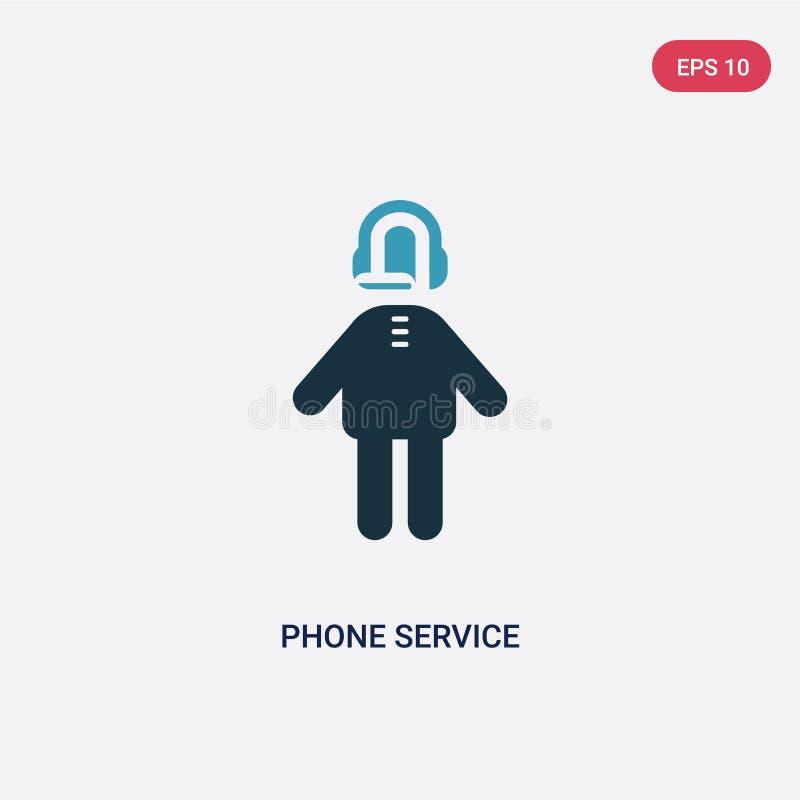 De dienst van de twee kleurentelefoon vectorpictogram van mensenconcept de geïsoleerde blauwe telefoondienst vectortekensymbool k royalty-vrije illustratie