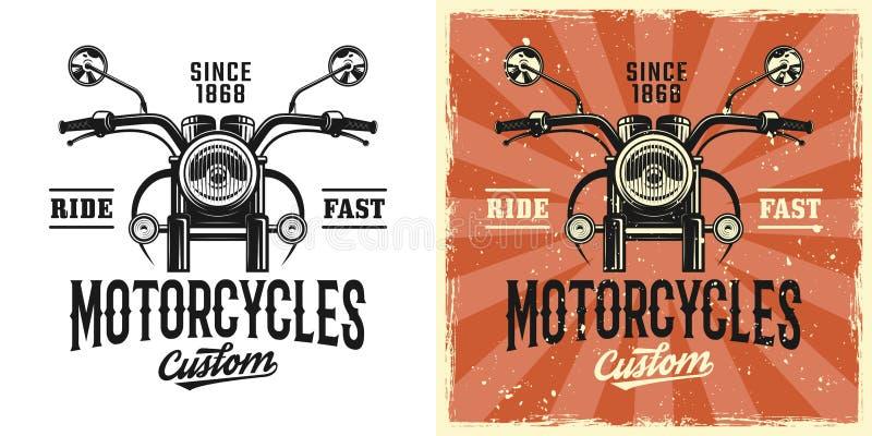 De dienst vector uitstekend embleem van de motorfietsendouane royalty-vrije illustratie