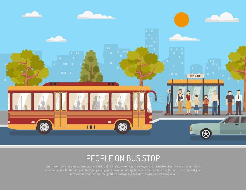 De Dienst Vlakke Affiche van de openbaar Vervoerbus royalty-vrije illustratie