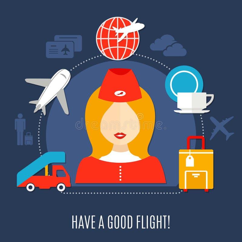 De Dienst Vlakke Affiche van de luchtvaartlijnenvlucht stock illustratie