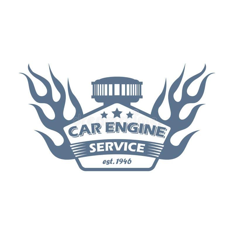 De dienst zwart-wit embleem van de motor van een autoreparatie royalty-vrije stock afbeelding