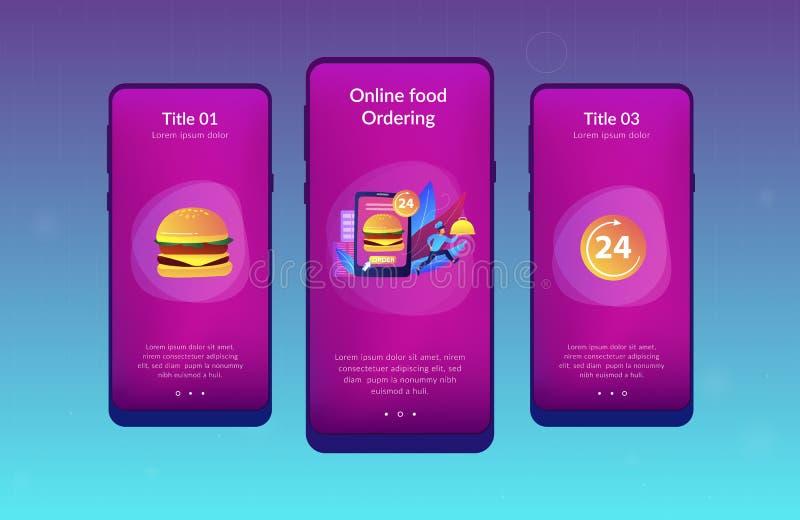 De dienstapp van de voedsellevering interfacemalplaatje vector illustratie