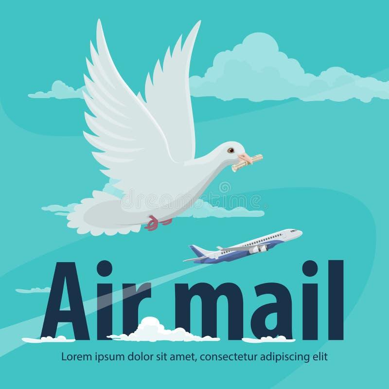 De dienstbanner van de luchtpost met vliegtuig en duif vector illustratie
