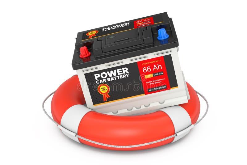 De Dienstconcept van de autobatterij De navulbare Accumulator van de Autobatterij 12V met Abstract Etiket over Reddingsboei het 3 royalty-vrije illustratie