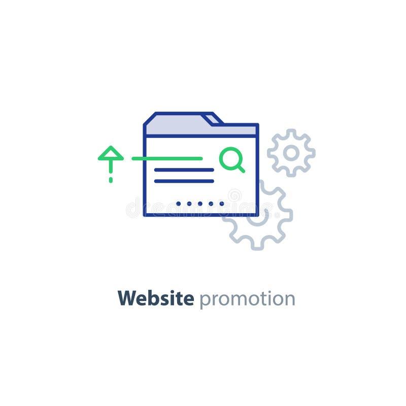 De diensten van de websiteoptimalisering, bevordering en het pictogram van het ontwikkelingsconcept vector illustratie