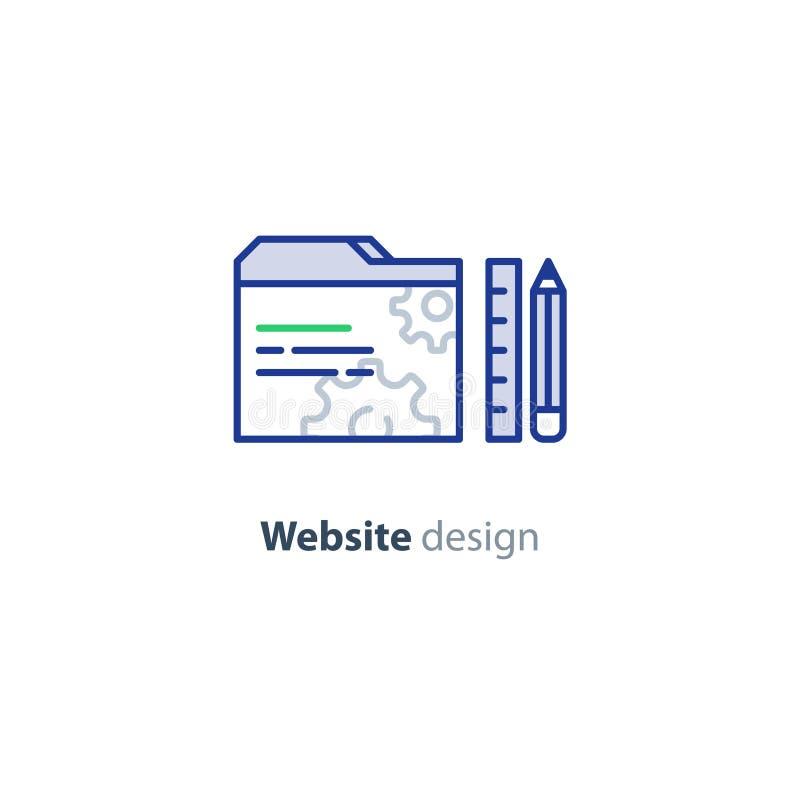 De diensten van de websiteoptimalisering, ontwerp en het pictogram van het ontwikkelingsconcept royalty-vrije illustratie