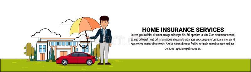 De Dienstenbanner van de huisverzekering met de Paraplu van de Mensenholding over Huis en Autobezitsbescherming en Veiligheid stock illustratie
