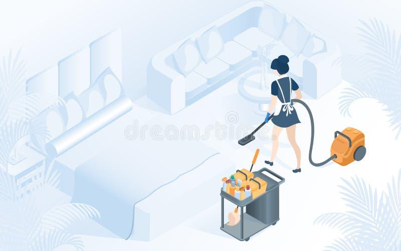 De Dienstillustratie van meisjehotel room cleaning royalty-vrije illustratie