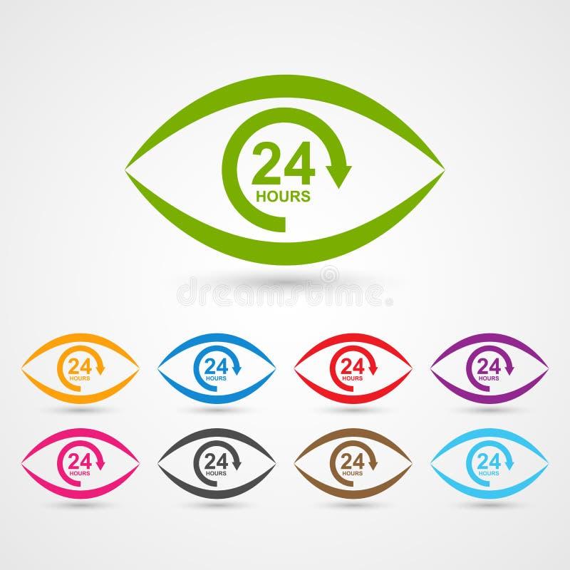 de dienstpictogram van de 24 urenklant in de vorm van oog royalty-vrije illustratie