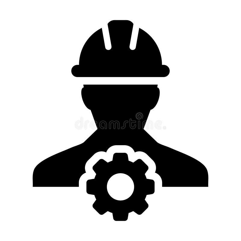 De dienstpictogram Vector Mannelijk Person Worker Avatar Profile met Toestel vector illustratie