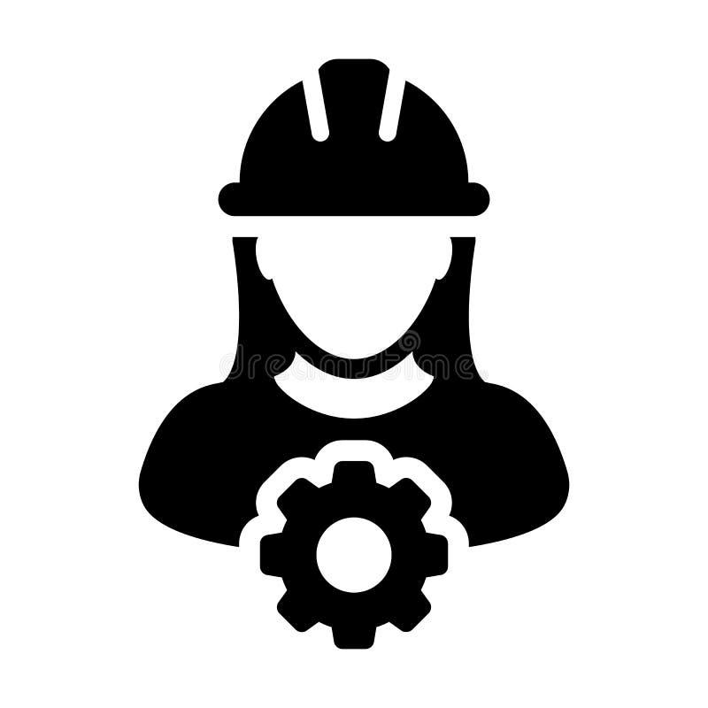 De dienstpictogram Vector Vrouwelijk Person Worker Avatar Profile met Toestel vector illustratie