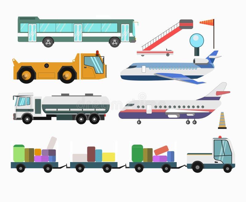 De dienstvoertuigen van de luchthavenpassagier en vliegtuigen vector vectorpictogrammen stock illustratie