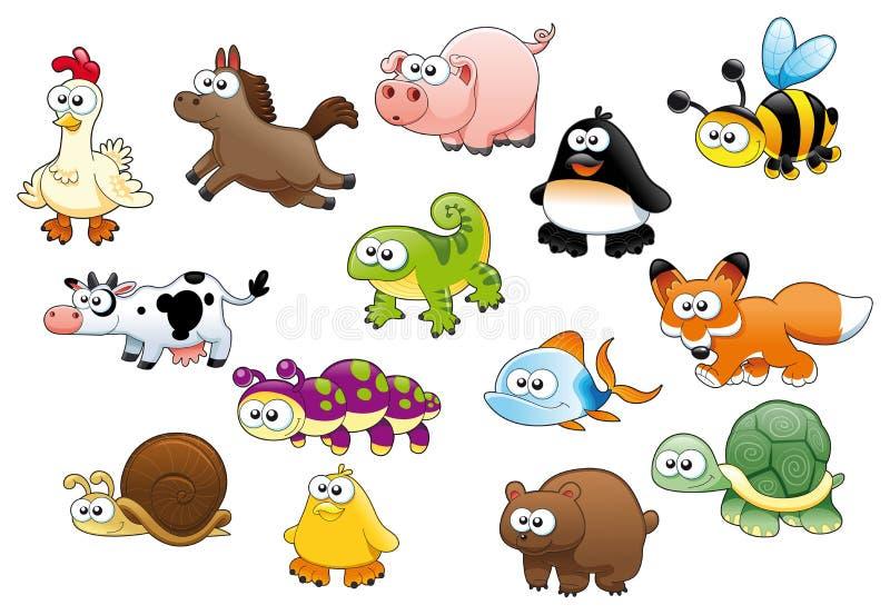 De dieren en de huisdieren van het beeldverhaal royalty-vrije illustratie