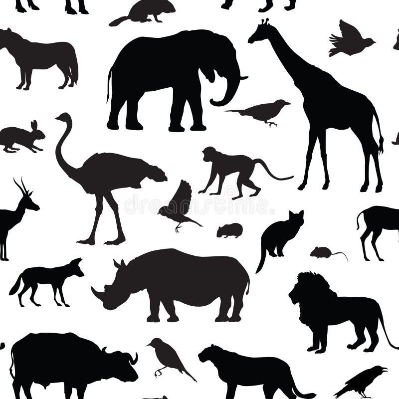De dieren silhouetteren naadloos patroon Het wild dierlijke silhouetten royalty-vrije illustratie