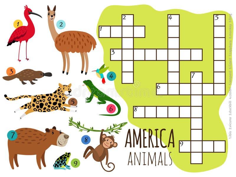 De dieren van Amerika geplaatst jonge geitjeskruiswoordraadsel vectorillustratie royalty-vrije illustratie