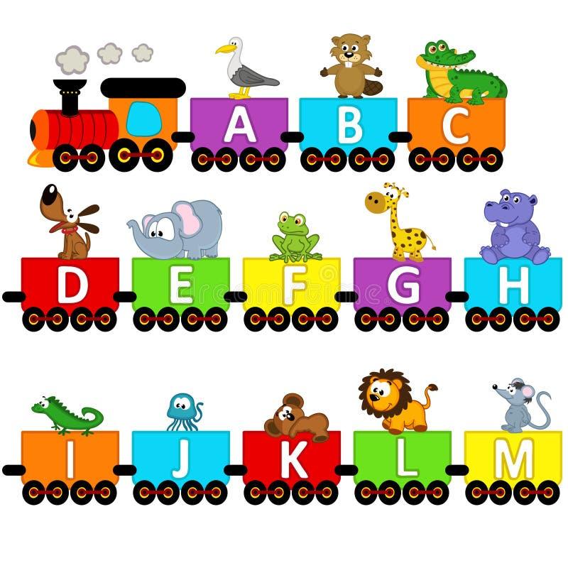 De dieren van de alfabettrein van A aan M royalty-vrije illustratie