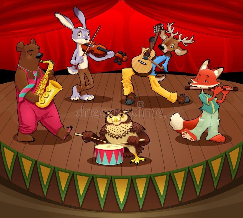 De dieren van de musicus op stadium. royalty-vrije illustratie