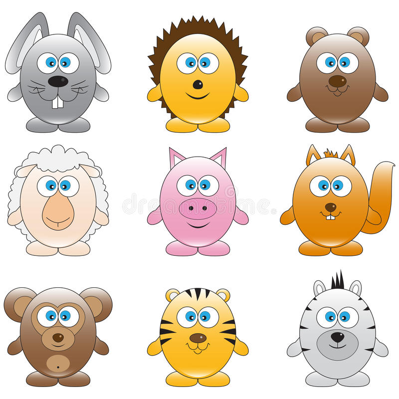 De dieren van het beeldverhaal stock illustratie