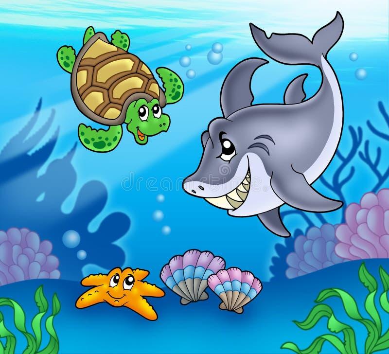 De dieren van het beeldverhaal onderwater royalty-vrije illustratie